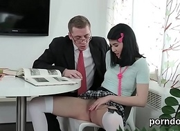 Cuddly schoolgirl is enticed increased off out of one's mind shagged off out of one's mind their way experienced crammer